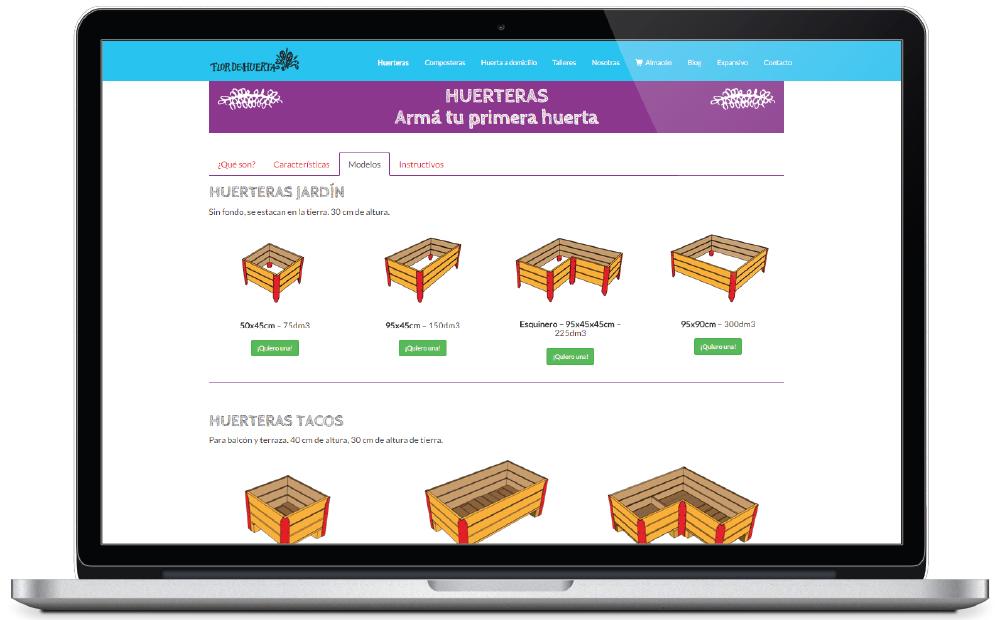 Flor de Huerta - sitio web - Productos